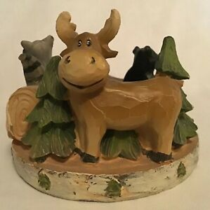 Yankee Candle Mountain Lodge Votive Candle Holder Moose Bear Cabin