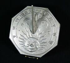 """Vintage Aluminum Sundial w/Gnomen 8-1/2"""" x 8-1/2"""" Sun Face Moon Stars"""