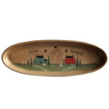 Primitive Rustic Wood Decor Plate Oval Crackled Display Wooden Plate Home Decor
