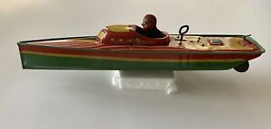 Lindstrom Wind Up Speed Boat 1930's - Works - Very Rare - Near Mint
