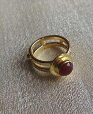 Handmade Gold Polish Red Onyx Stone Ring US Size 8