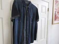 No Excess ,  , Size XL , Men's Short Sleeve Shirt , 100% Cotton , Blue / Gray