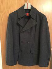Hugo Boss Orange Mens Wool Coat / Peacoat / Smart Wool Coat Dark Grey Size Small