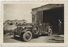 vornehmer PKW Adler 3 Gd Kübelwagen WK2 Wehrmacht Soldaten Foto 10x14.5cm