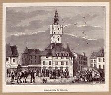 une vue de l'Hotel de ville de Béthume gravure ancienne 1882 / MB124