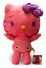 """New 15"""" Hello Hot Pink Kitty Robot Plush Doll Figure by Furyu (Japan Imported)"""