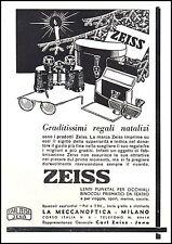 PUBBLICITA' ZEISS JENA BINOCOLI OCCHIALI MECCANOPTICA LENTI PUNKTAL REGALI 1940