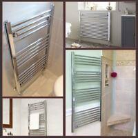 Chrome Straight Flat Heated Bathroom Central Heating Towel Rail Radiator Warmer