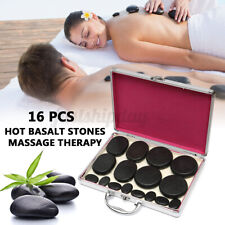 16Pcs Hot Rock Basalt Stones For SPA Massage Therapy With Heating Box Set Skin