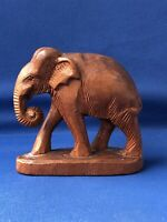 Wooden Wood Carved Elephant Wild Animal Curled Lined Trunk Tight Ammonite Swirl