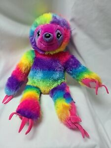 """Build-a-Bear Sloth Stuffed Plush Toy Rainbow Let's Hang Colorful Retired 18"""""""
