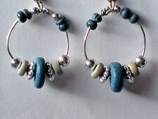 BLUE HOOP SHAPED 30mm.x 20mm DROP EARRINGS with WOODEN & SILVER BEADS. £3.95 NWT