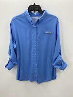 Columbia Omni Shield Womens Size XL Blue Long Sleeve Button Down Shirt
