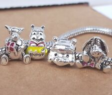 Disney Cartoon Winnie the Pooh Bear Hunny Jar Tigger Eeyore European Bead Charms