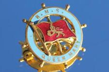 CUNARD WHITE STAR LINE RMS QUEEN MARY EARLY FINE GILT ENAMEL BADGE
