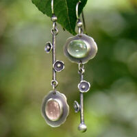 Retro 925 Silver Dangle Drop Earrings Ear Hook Moonstone Women Fashion Jewelry