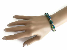 Beautiful AB and GREEN AB Glass Crystal Bead Bracelet Stretchy & Elasticated