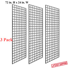 3 Pack 72 X 24 In Grid Wall Sturdy Panels For Retail Store Display Black 3 Hole