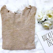 Zara Knit Nude V-Neck Asymmetrical Hem Lightweight Sweater, Small, Viscose