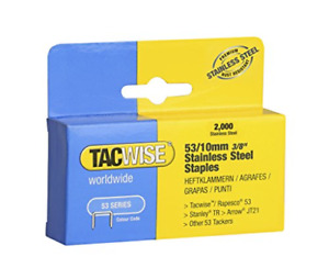 Tacwise Type 53/10mm Stainless Steel Staples for Staple Gun (Pack of 2000)