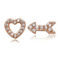 Rose Gold Tone over Sterling Silver Cubic Zirconia Heart and Arrow Stud Earrings