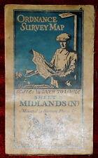 "ORDNANCE SURVEY 1/4"" LINEN BACKED MAP OF MIDLANDS NORTH - 5 - 1920"