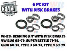 VW BUG SUPER BEETLE WHEEL BEARING KIT DISK BRAKES 68-79 (6 PC) A15 A1 1174 KIT 3