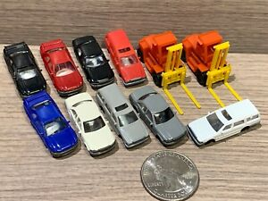 9 N Scale Tomix Cars & 2 Fork Lifts: Sedans, Wagons, Sports Cars
