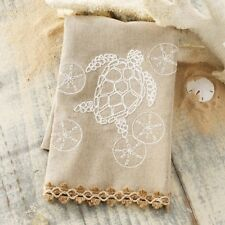 Mud Pie Turtle Sanddollar Oatmeal Linen Embroidered Hand Finger Tip Decor Towel