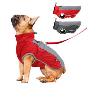 Waterproof Dog Winter Jacket Warm Dog Fleece Coat  Reflective Harness M-3XL