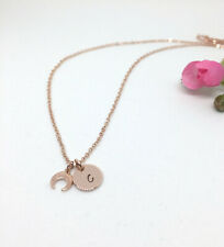 Personalised Crescent Charm Rose Gold Initial Necklace Delicate Gift