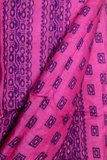 Vintage Indian  Pure Tussar Silk Sari Craft Decor Embroidered Border Saree Wrap