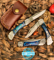 Custom Handmade Damascus Steel Pocket Knife Folding Blade W/ Wood Blue Handle 7""