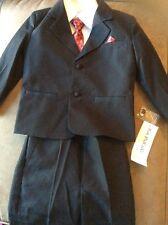 Boy's Tuxedo Suit Sz 4 Black 6-piece Vest White Shirt Red Tie Pocket Square NWT