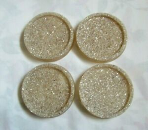~ Resin Coasters ~ Set of 4 ~ Mother of Pearl Chip Infill ~ (O3)