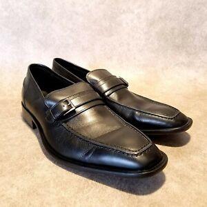 Via Spiga Mens 7000 Sz 9.5 M Black Leather Slip On Loafer Dress Shoes Buckle