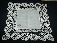 Pretty White Wedding Type Lace Ladies Handkerchief-Hanky-Hand Stitched Edge