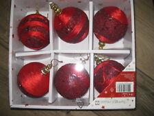 Weihnachtsschmuck ausgefallene 6  große rote Kugeln Glitzer Tarrington House Neu