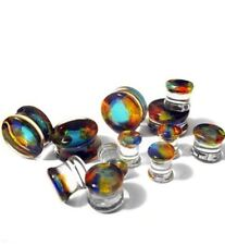 "PAIR-Pyrex Glass Dichroic Colorful Double Flare Plugs 16mm/5/8"" Gauge Body Jewel"