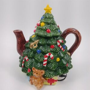 "Ceramic Christmas Tree Shaped Teapot Star Candy Cane Teddy Bear - 7.5"" tall"