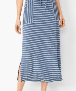 Talbots Plus Blue/White Stripe Pockets Elastic Waistband Midi Skirt 2X