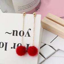 Women's Fashion Jewelry Fur Ball PomPom Rhinestone Long Drop Dangle Earrings