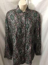 #353- Vintage Essential Elements paisley multi color silk blouse top, size S