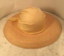 Vintage HALSTON Woven Wicker Straw Fabric Sun Hat