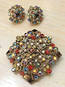 Joan Rivers Glamorous Stone Crystal Pin w/ Matching Clip Earrings
