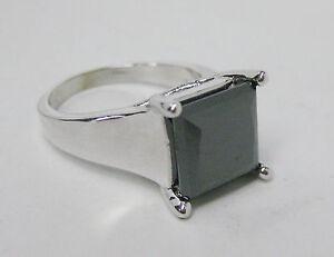 Noori 14k White Gold 6ct Certified Princess Cut Black Diamond Ring