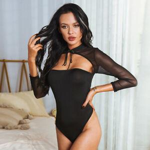 Black Stretchy Spandex Lace Up Erotic Lingerie Leotard Bodysuit Size S-4XL W2143