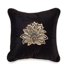 """J.QUEEN 18"""" Square Toss Pillow ALICANTE Black, Gold Embroidered Medallion, NEW"""