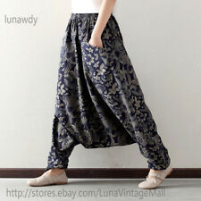 Retro Printed Asymmetric Harem Pants Women Loose Bloomers boho hippie Trousers