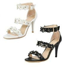 Sexy Ladies Wedding Bridal Floral Stud Peep Toe Hollow Out Ankle Strap Sandals B